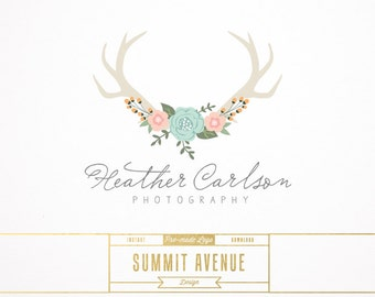 DIY INSTANT DOWNLOAD - Floral Antlers Premade Logo Design for Photography or Boutique by Summit Avenue