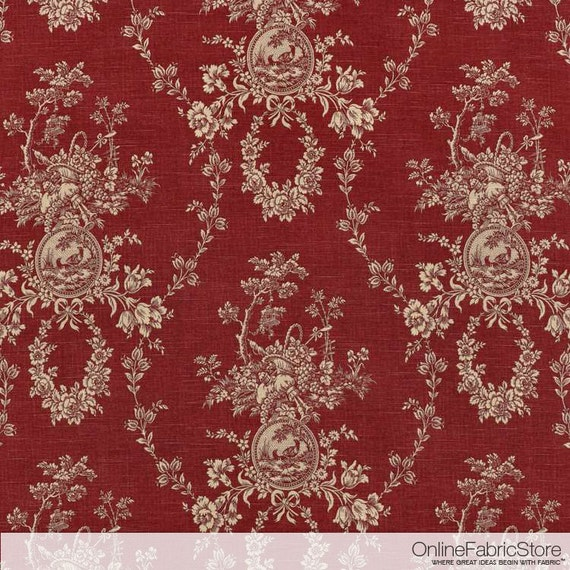 items similar to waverly country house toile red fabric by the yard on etsy. Black Bedroom Furniture Sets. Home Design Ideas