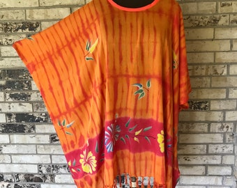 Plus Size Hand Painted Lightweight Rayon Tunic