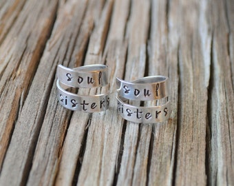 Best friend rings / Soul Sisters rings / Best Friend Gift/ Friendship rings / BFF gift / Bff rings /stocking stuffer / gifts under 20