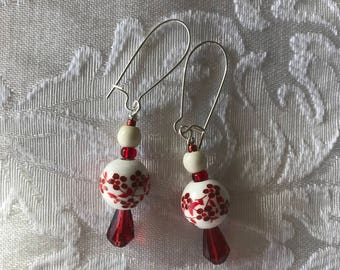 Floral red and white earrings ceramic 10mm beads dangles