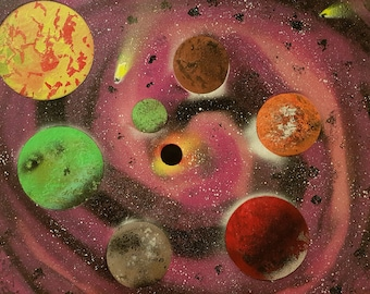 Meteorites planets and Galaxy purple paint spray