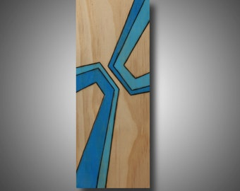 "Modern Abstract Art, Original Design Woodburned onto Pine and Colored with Prismacolor Pencil, ""Glare"" 3.5"" x 8.75"""