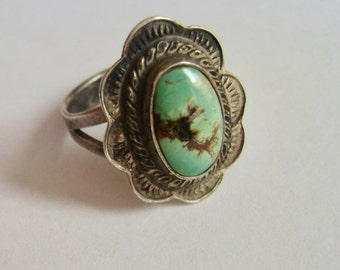 vintage sterling and turquoise ring, size 6 and 1/2