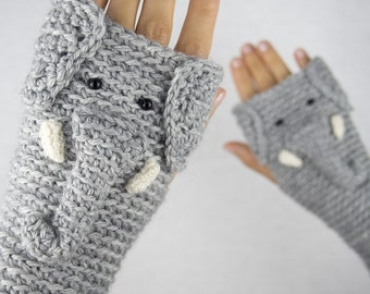 Elephant Fingerless Gloves ~ Handmade