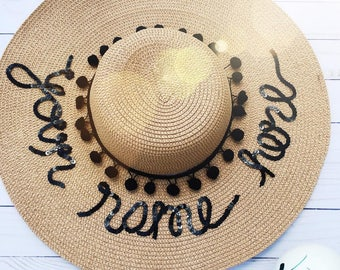 Custom Sun Hat- Sun hat-Bridesmaid gift- Boho Hat- Personalized- Bachelorette Party Hat-Mothers day-Gift-For-Women-Bride gift-Custom Gift