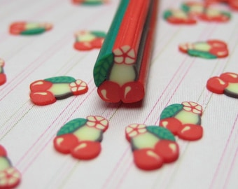 cherries 5mm polymer clay cane uncut DIY fruit red kawaii deco decoden crafts sweets miniature cherry bunch nail art sticker embellishments