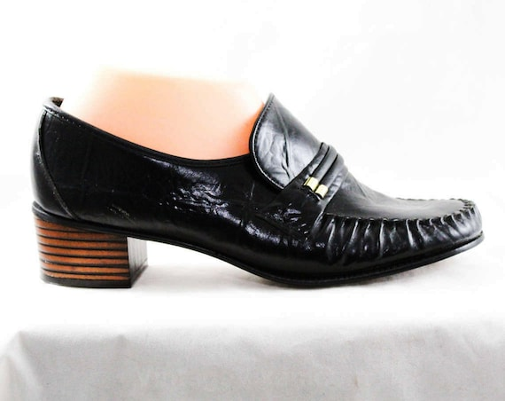 1960s NOS 8 Metal Leather 8 Size Goldtone Unworn Textured 60s 5 Black 2 Hipster 1 Pumps Shoes Deadstock Loafers 48186 1 with PPAwTXZq