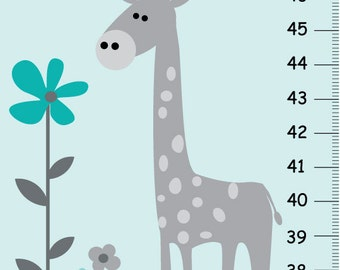 Giraffe Growth Chart for Children, Personalized Giraffe Height Chart, Canvas Growth Chart for Wall Hanging