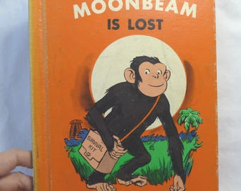 Moonbeam is Lost, Childrens Book, Vintage Book, Hardcover Book, Vintage 1970, Monkey Story, Library Book, Chapter Book, Colorful Pictures
