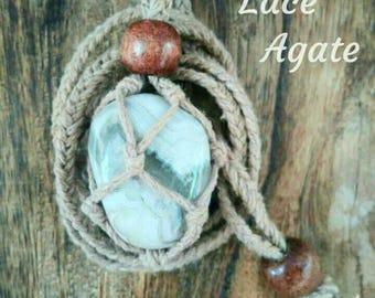 Crazy Lace Agate & Handwoven Hemp Necklace