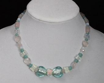 Aqua Glass Heart Necklace