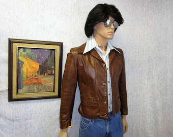 70s S Leather Bomber Jacket Brown Reed Sportswear