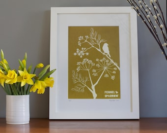 yellow wall art - yellow print - Fennel print - yellow art print - bird art - bird lover - wall art bird - alison bick - alisonbick