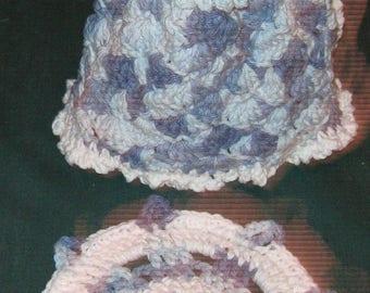 Crochet dish cloth & Soap Dress 12 oz. size, multi blues and white