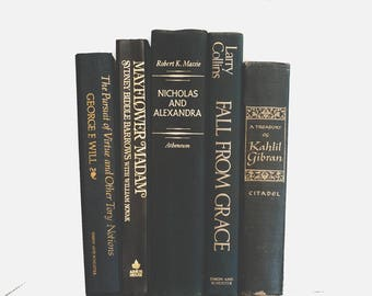 Vintage Black and Gold Decorative Books Instant Library Collection Decorating Book Photography Props Home Staging Table Decor Decoration