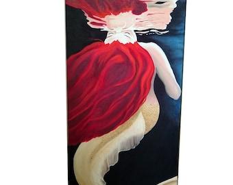 """40 x 100 cm mermaid oil painting """"Breathe"""""""