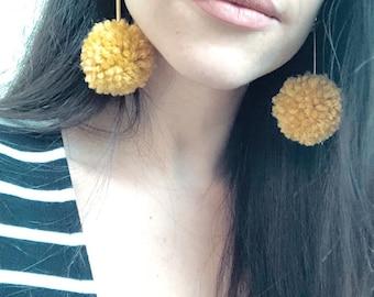POM POM earrings/ gold earrings/ gift for her
