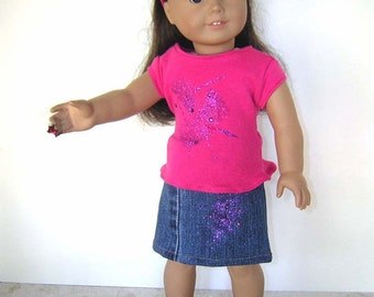 Hand Decorated and Embellished Tee and Skirt for American Gil, Bitty Baby and Similar Dolls