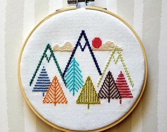 "6"" round multicolor mountain trees sky cross stitch"