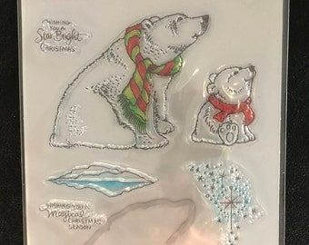 Stamps and Dies Kit, Christmas Theme, Polar Bear, Dies, Stamps, Craft Dies, Scrapbooking, Card Making, Recollections
