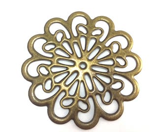15 Filigree Flower Medallion 60mm Bendable Components Antique Brass Plated 61460