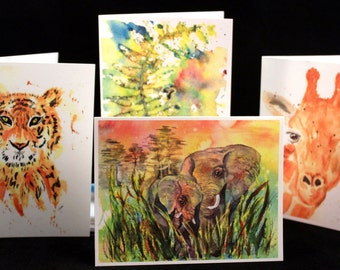 Set of Assorted Safari Original PRINT Watercolor cards, Note Cards/Greeting Cards (Set of Four),  Watercolor Cards