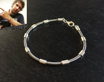 Recycled Bass Guitar String Bracelet - Alberto Rigoni Signature Silver Fortress