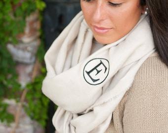 Creme Monogrammed Londyn Infinity Scarf, Womens Monogrammed Creme Scarf, Personalized Scarf, Embroidered Scarf