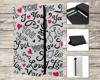 I Love You Text Pattern Full Flip Case For Samsung Galaxy (S416)