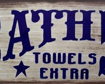 Bath 5c Western Primitive Rustic Distressed Country Wood Sign Home Decor