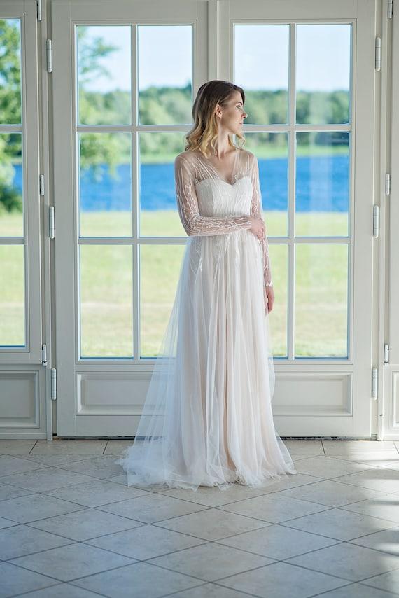Long sleeve wedding dress open back V neck wedding dress