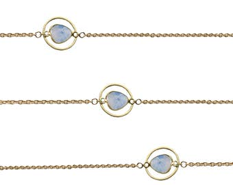 Gold Chain Choker   Moonstone Choker Necklace