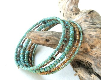 Stacked beaded bracelets - Brown & turquoise summer memory wire cuff Picasso beads