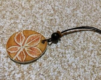 Leaf imprint pendant necklace - Brown & Copper