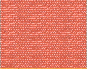 Coral Wavy Stripe Quilt Fabric, Windham 40266-6 Mouse Camp by Erica Hite, Coral Stripe Quilt Blender Fabric, Persimmon, Cotton, Fat Quarter