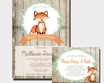 Fox Baby Shower Invitation | Woodland Baby Shower Invitation | Forest Animal Baby Shower | Rustic Baby Shower | Bring A Book Insert