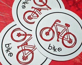 Printable Red Bike Circle Tags Labels