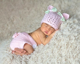 Newborn Pig Hat and Diaper Cover Photo Prop