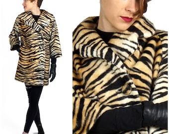 Fabulous Vintage 60's Faux Tiger Fur Swing Peacoat Jacket   Small Medium
