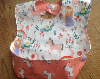 Snappy Pocket Bib in Waterproof Laminate, Self Feeder, NEW Princesses and Unicorns by Riley Blake, BPA Free, wipeable and washable
