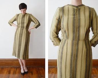 50s Wool Dress / 1950s Olive Striped Dress - M