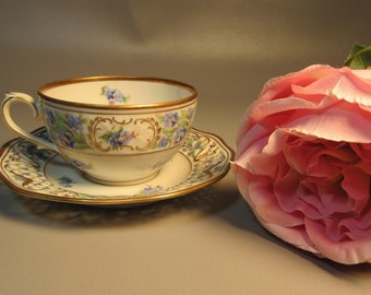 c1850 German Teacup & Saucer Crossed Swords Mark Fenestrated w/Florals And Gold