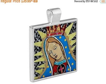 HUGE SALE- Virgin of Guadalupe Necklace Mexican Folk Art Jewelry - Pendant Metal  Gift Art Heather Galler Gift Vegan Gifts