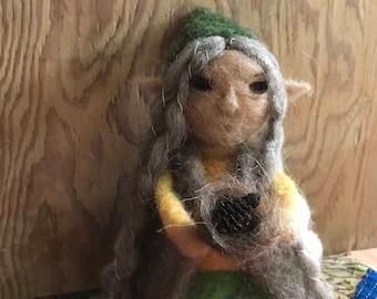 Needle felted faerie woodland elf wool