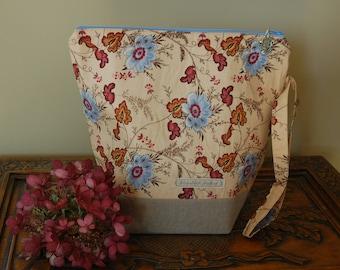 Autumnal Floral, Knitting Project bag, medium