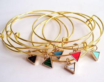 Triangle Bangle, Colorful Stone Triangle Bracelet, Gold Bangle Bracelet, Triangle Charm, Gold Bracelet, Layering Bangle, Stackable Bangle