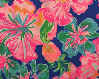 "beckon blue jungle utopia poplin cotton fabric square 18""x18"" ~ lilly spring 2018 ~ lilly pulitzer"
