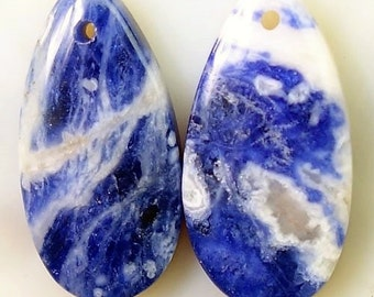 Beauty 100 % Natural blue white Sodalite Teardrop shape pair Pendant 27x13x5mm  ММА