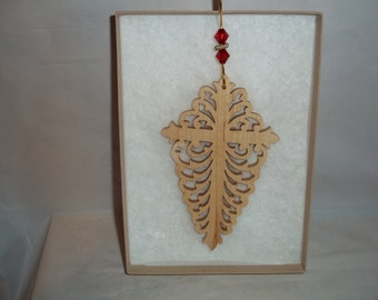 Hand-crafted Decorative Cross Ornament made from Maple